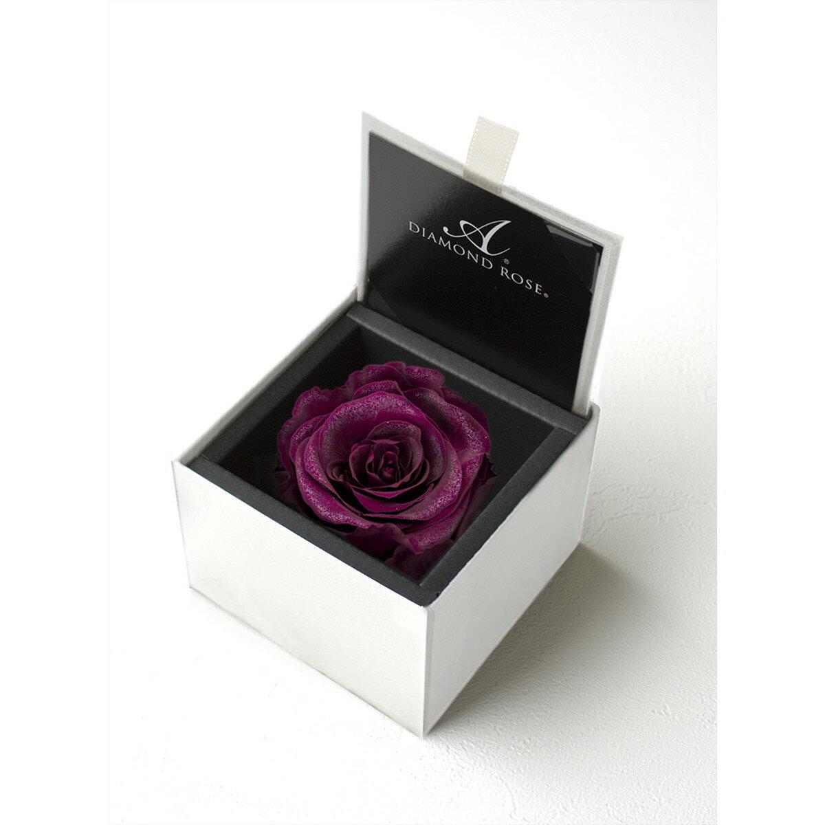 【プリザーブド】アモローサ/ダイヤモンドローズボックス 85(箱:ホワイト) リッチプラム/1203-52【01】【07】【取寄】[6箱]《 プリザーブドフラワー プリザーブドフラワー花材 バラ(ローズ) 》