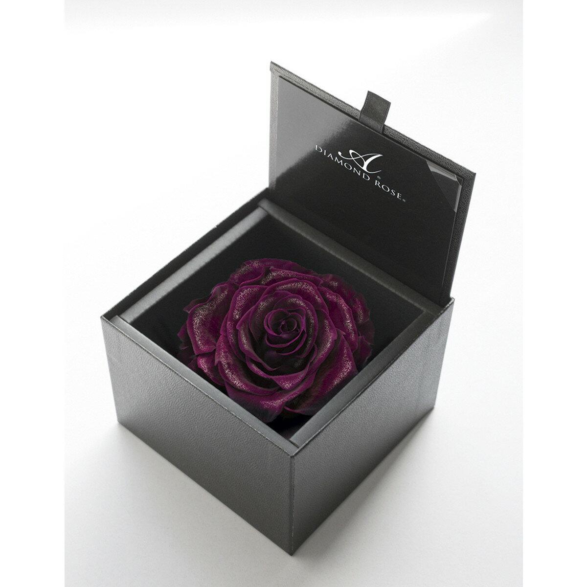 【プリザーブド】アモローサ/ダイヤモンドローズボックス 105(箱:エンボスブラック) リッチプラム/1217-52【01】【07】【取寄】[6箱]《 プリザーブドフラワー プリザーブドフラワー花材 バラ(ローズ) 》