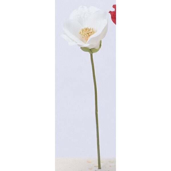 【造花】アスカ/椿ピック #001 ホワイト/A-73294-1【01】【取寄】《 造花(アーティフィシャルフラワー) 造花 花材「た行」 ツバキ(椿) 》