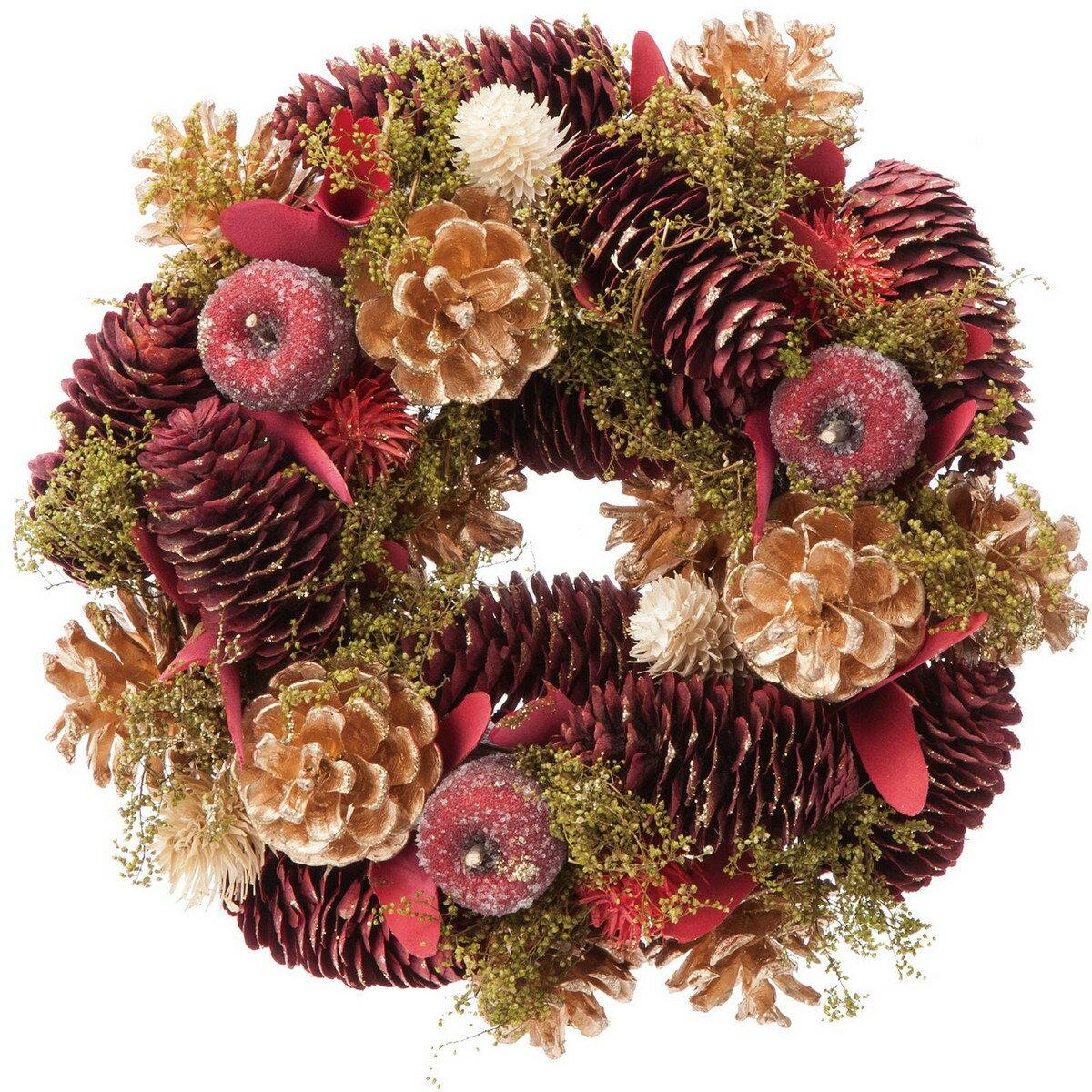 【造花】YDM/25cmクラシカルレッドコーンリース/CBD-280【01】【取寄】《 花器、リース リース完成品 天然素材 》