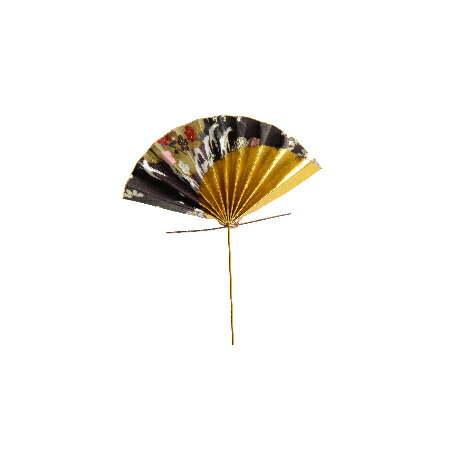 パレ/和柄扇子ピックS 3個入り ブラック/P-1357-99【01】【取寄】《 花資材・道具 フラワーピック イベントピック 》