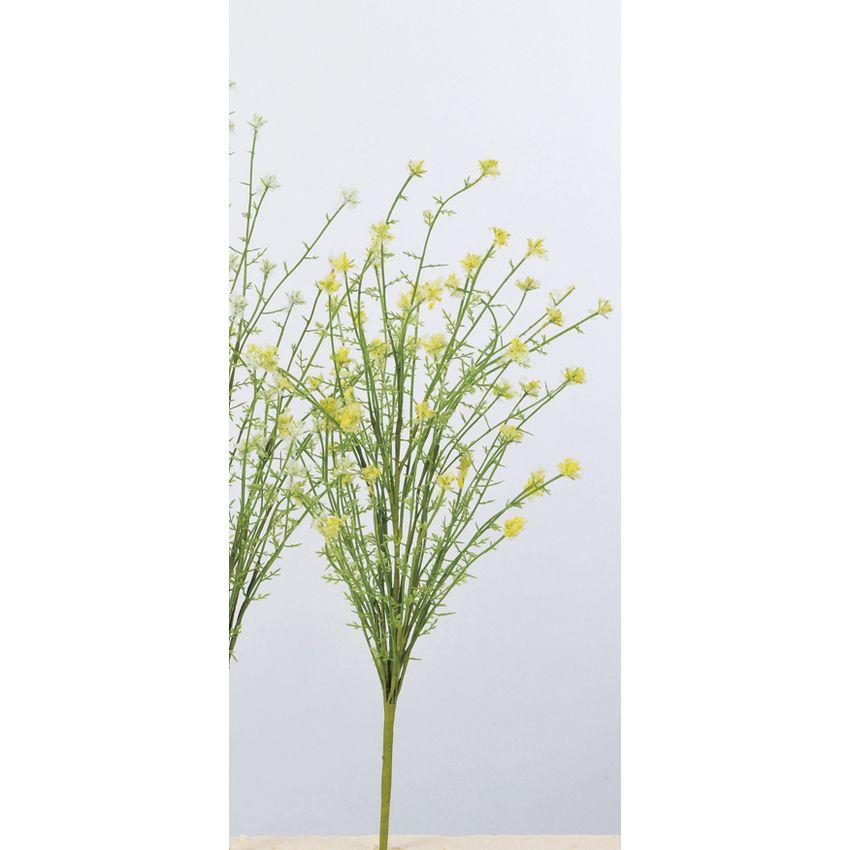 【造花】アスカ/ミニフラワーブッシュ #020 ソフトイエロー/A-33588-020【01】【01】【取寄】《 造花(アーティフィシャルフラワー) 造花 花材「は行」 その他「は行」造花花材 》