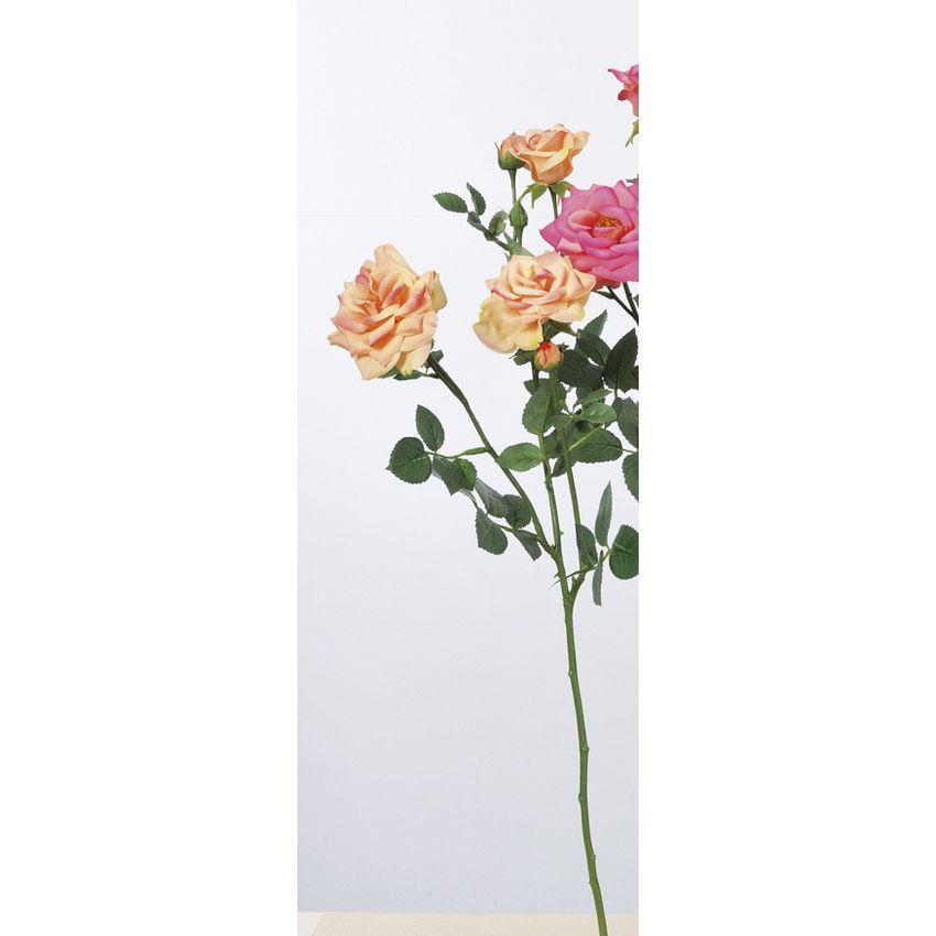 【造花】アスカ/ファリネローズ×3 つぼみ×4 #004 ピーチ/A-33605-004【01】【01】【取寄】《 造花(アーティフィシャルフラワー) 造花 花材「は行」 バラ 》