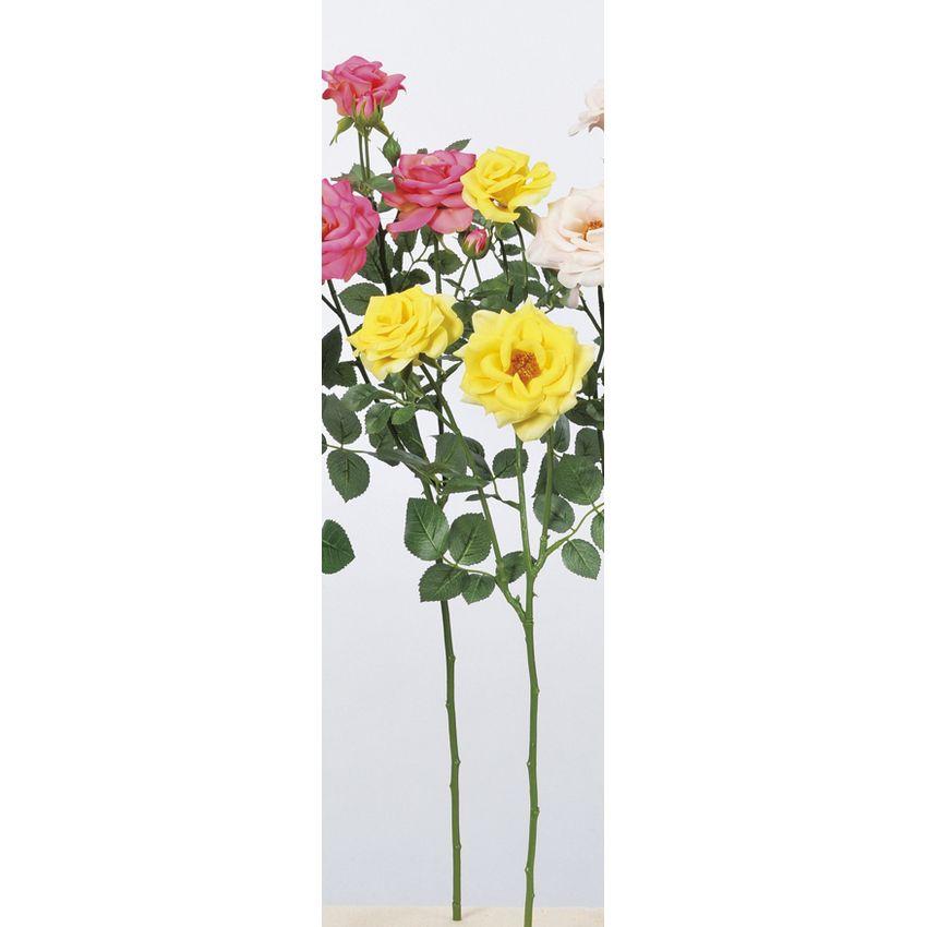 【造花】アスカ/ファリネローズ×3 つぼみ×4 #010 イエロー/A-33605-010【01】【01】【取寄】《 造花(アーティフィシャルフラワー) 造花 花材「は行」 バラ 》