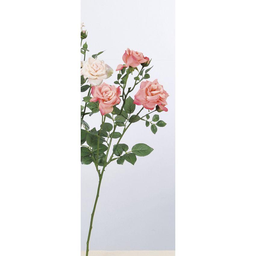 【造花】アスカ/ファリネローズ×3 つぼみ×4 #014A シュリンプ/A-33605-014A【01】【01】【取寄】《 造花(アーティフィシャルフラワー) 造花 花材「は行」 バラ 》