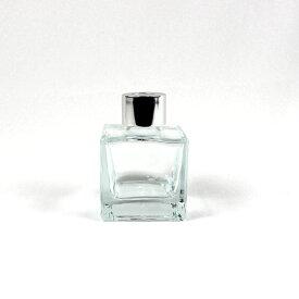 即日 リードディフューザー用ガラス瓶 正方形 50ml 銀カバー+中栓付 リードディフューザー リードディフューザー瓶・ボトル 手作り 材料