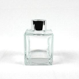 即日 リードディフューザー用ガラス瓶 正方形 100ml 銀カバー+中栓付