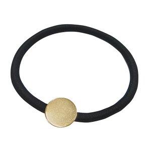 エルベール/ヘアゴム(皿付)黒 1個 ゴールド/BJ-286G【07】【取寄】[3袋] 手芸用品 アクセサリー ブローチ・ヘアピン 手作り 材料