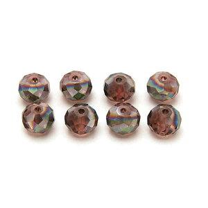 エルベール/ガラスボタンカット8mm メタルパープル 約8個/BJ-505【07】【取寄】[3袋] 手芸用品 アクセサリー ビーズ 手作り 材料