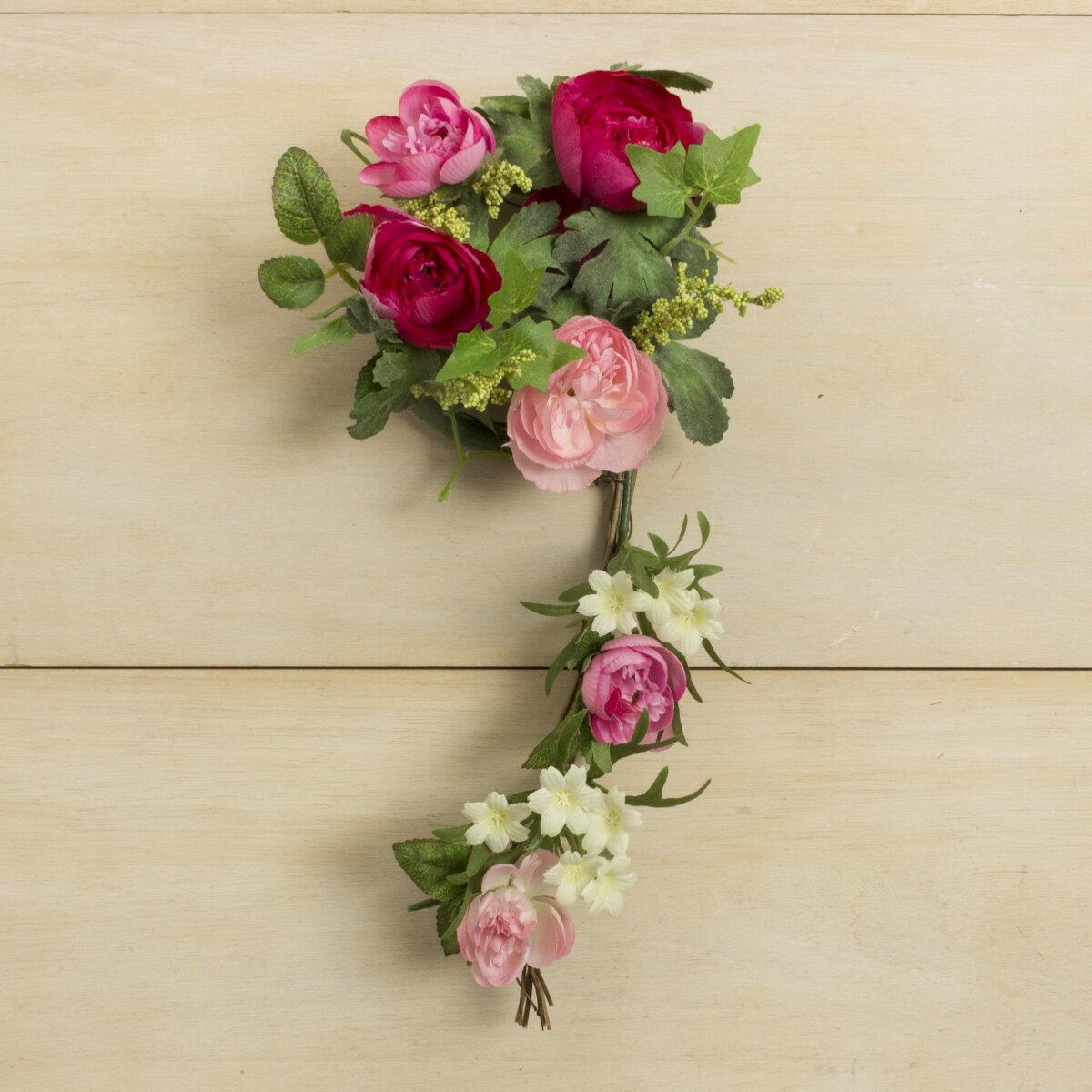 【造花】YDM/ラナンキュラスリース ピンクビューティー/FBC8007-PBT【01】【取寄】《 造花(アーティフィシャルフラワー) 造花 花材「ら行」 ラナンキュラス 》
