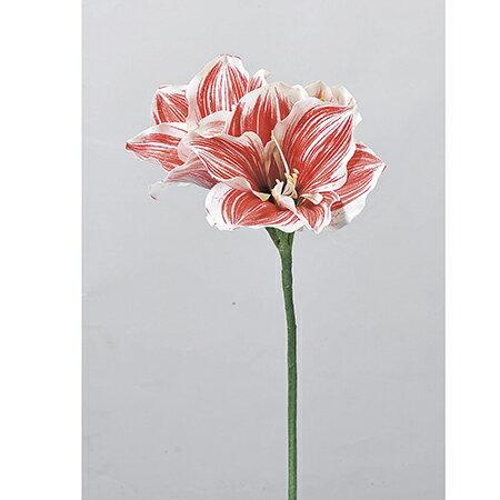 【造花】アスカ/アマリリス×2 つぼみ×1 ホワイトレッド/A-32353-1R【01】【01】【取寄】《 造花(アーティフィシャルフラワー) 造花 花材「あ行」 アマリリス 》