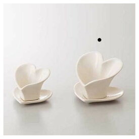 即日 クレイ/Heart Pot and Saucer 10L10W8H WHITE/240-292-100