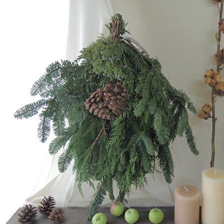 【生花】そのまま飾れる♪オレゴン産エバーグリーンスワッグ[1個]※届日限定:11/18以降