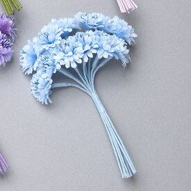 即日 【造花】ミレニアムアート/プチデイジー ブルー 12個/AFC17-05《 造花(アーティフィシャルフラワー) 造花 花材「た行」 デージー 》