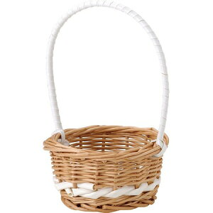 てづくり/マロンプチバスケットサークルWH/SS/11-090【01】【取寄】[10コ]花器、リース 花器・花瓶 バスケット(花かご) 手作り 材料