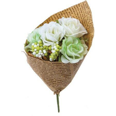 大特価◎【造花】YDM/フィンガーローズブーケ グリーンホワイト/FBC8041-G/W 造花 バラ【01】【取寄】《 造花(アーティフィシャルフラワー) 造花 花材「は行」 バラ 》