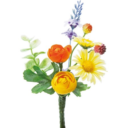 【造花】YDM/ミニラナンミックスブッシュ イエローオレンジ/FB2355-YOR【01】【取寄】《 造花(アーティフィシャルフラワー) 造花 花材「ら行」 ラナンキュラス 》