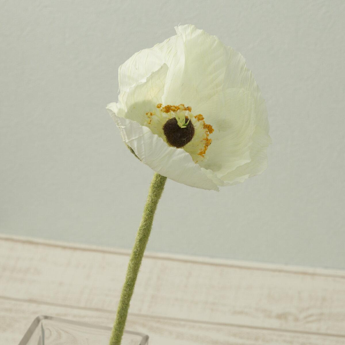 即日 【造花】YDM/シングルポピー ホワイト/FF2681-W《 造花(アーティフィシャルフラワー) 造花 花材「は行」 ポピー 》