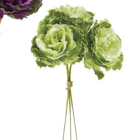 【造花】MAGIQ(東京堂)/葉牡丹ピック 3本 ツートングリーン/FM001166-024【01】【01】【取寄】《 造花(アーティフィシャルフラワー) 造花 花材「は行」 ハボタン(葉牡丹) 》