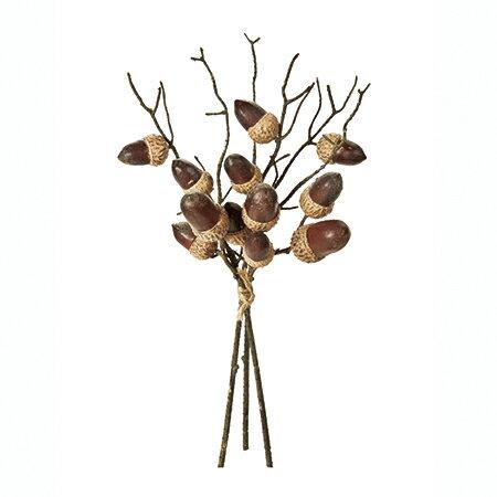 【造花】MAGIQ(東京堂)/どんぐりピック ブラウン 3本/FM004495【01】【取寄】《 造花(アーティフィシャルフラワー) 造花実物、フェイクフルーツ 柿 》