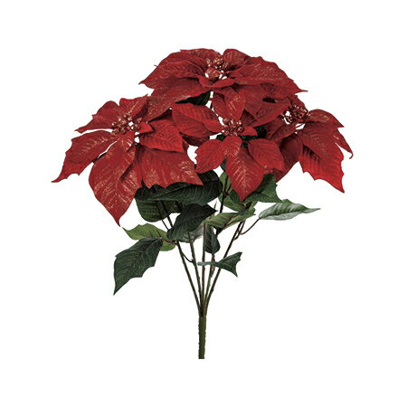 【造花】MAGIQ(東京堂)/ブラッシュリーポインセチアブッシュ レッド/FX006328【01】【取寄】《 造花(アーティフィシャルフラワー) 造花 花材「は行」 ポインセチア 》