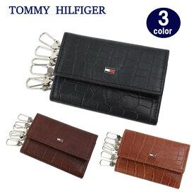 TOMMY HILFIGER キーケース 31TL170003 トミーヒルフィガー クロコデザイン プレートロゴ レザー 6連フック トミー ブランド ag-1694