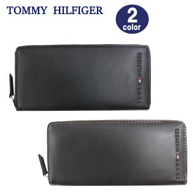 TOMMY HILFIGER 長財布 31TL13X015 トミーヒルフィガー レザー ラウンドファスナー 長財布 型押しロゴ メンズ ブランド ag-883000