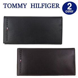 TOMMY HILFIGER 財布 31TL19X006 トミーヒルフィガー レザー 二つ折り長財布 長札 型押しロゴ メンズ トミー ブランド ag-885600