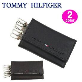 TOMMY HILFIGER キーケース 31TL17X005 トミーヒルフィガー ブラック/ブラウン 型押しロゴ レザー 6連フック トミー 2カラー ブランド ag-885700