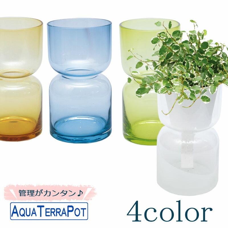 インテリアグリーン アクアテラポット ハイドロカラーグラス7 全4色 底面給水ガラス鉢 ギフト 観葉植物 シュガーバイン アイビー ヘデラ ペペロミア ワイヤープランツ