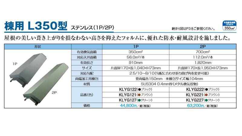 【期間限定ポイント2倍】Kmewメーカー純正 【棟用 L350型 2P】カラーベスト 周辺素材/換気役物 大換気量タイプ SUS304 0.4mm厚(メタル換気役物)