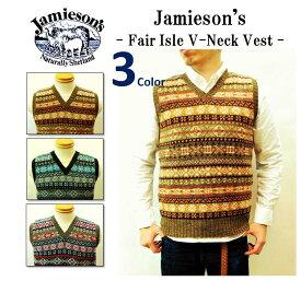 【SALE!!】【JAMIESON'S/ジャミーソンズ】-FAIR ISLE V-NECK VEST/フェアアイルVネックベスト-