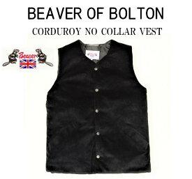 【SALE!!】【BEAVER OF BOLTON/ビーバーオブボルトン】-CORDUROY NO COLLAR VEST/コーデュロイノーカラーベスト-BLACK-