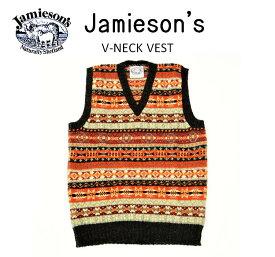 """【SALE!!】【JAMIESON'S/ジャミーソンズ】-FAIR ISLE V-NECK VEST/フェアアイルVネックベスト""""HEATHER BLACK""""-"""