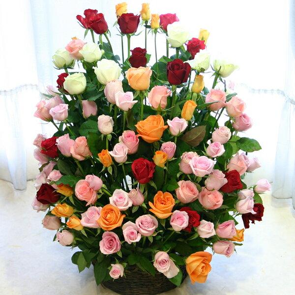 【送料無料】ミックスカラーのバラ100本のギフト用アレンジ(フラワーアレンジメント)【誕生日や発表会、記念日のお祝いに/出産祝い、新築祝い、開店祝いのフラワーギフトに/送別会のプレゼントに/楽屋花、お見舞いの差し入れに】(クール便不可)