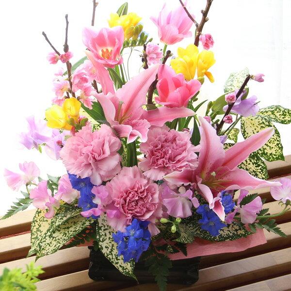 【送料無料】ひな祭り(雛祭り/ひなまつり)・桃の節句・初節句のお祝いに!春限定・桃の花のフラワーアレンジメント『ピンクブロッサム』【誕生日や記念日のお祝いに/お見舞いの差し入れに/出産祝いの贈り物に/合格祝い・卒業祝いに】