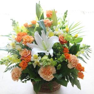 ■【送料無料】【お祝い 花】大輪の白ユリ(カサブランカなどユリ/ゆり/百合)のお祝い花(フラワーアレンジメント/花束)【誕生日・発表会・記念日のお祝いに/結婚祝い・出産祝い・新築祝い