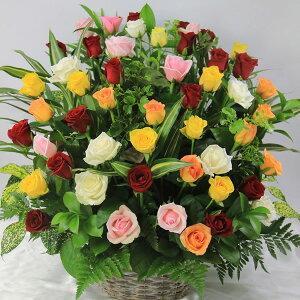 【送料無料】ミックスカラーのバラ50本のギフト用アレンジ(フラワーアレンジメント)【誕生日や発表会、記念日のお祝いに/出産祝い、新築祝い、開店祝いのフラワーギフトに/送別会のプレ