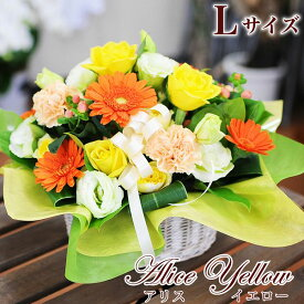 お見舞い 退院祝い 快気祝い の 花 宅配 配送 送料無料 フラワー アレンジメントアリスイエロー Lサイズ