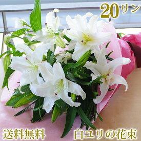 誕生日 花 ゆり プレゼント フラワーギフト 大輪系 白ユリの花束 20輪以上 百合 贈り物 お祝い花束 送料無料 贈り物 結婚祝い 花 結婚記念日 花 発表会