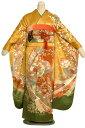 成人式レンタル 振袖レンタルSF575 カラシ色地に裾グリーン抹茶ぼかしのし柄 着物レンタル レンタル着物 卒業式 レ…