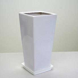 8号角陶器鉢L|(白) J538【送料無料/観葉植物/おしゃれな植木鉢/植え替え/インテリア/スクエア/大型】【smtb-ms】