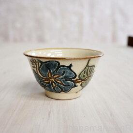 やちむん (沖縄陶器) 3.5寸マカイ ハイビスカス 青   茶碗 茶わん 食器 線彫り 焼き物