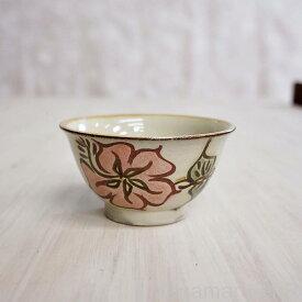 やちむん (沖縄陶器) 3.5寸マカイ ハイビスカス 赤   茶碗 茶わん 食器 線彫り 焼き物