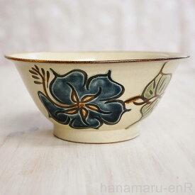 やちむん (沖縄陶器) 6寸マカイ ハイビスカス 青 どんぶり 丼 そばマカイ 食器 線彫り 焼き物
