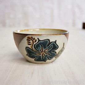 やちむん (沖縄陶器) 4寸鉢 ハイビスカス 青   ボウル 小丼 食器 線彫り 焼き物
