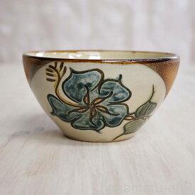 やちむん (沖縄陶器) 5寸鉢 ハイビスカス 青   ボウル 丼 食器 線彫り 焼き物