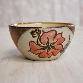 やちむん (沖縄陶器) 5寸鉢 ハイビスカス 赤   ボウル 丼 食器 線彫り 焼き物
