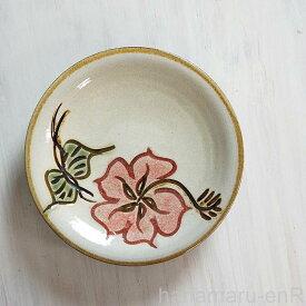 やちむん (沖縄陶器) 5寸皿 ハイビスカス 赤  プレート 皿 食器 取皿 中皿 線彫り 焼き物