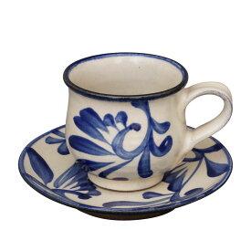 やちむん カップ&ソーサー コバルト唐草 陶眞窯   コーヒー カップ ソーサー 沖縄 焼物 焼き物 陶器